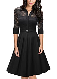 0a066a34367e3 MISSMAY Women's Vintage 1950s Style 3/4 Sleeve Black Lace Flare A-line Dress