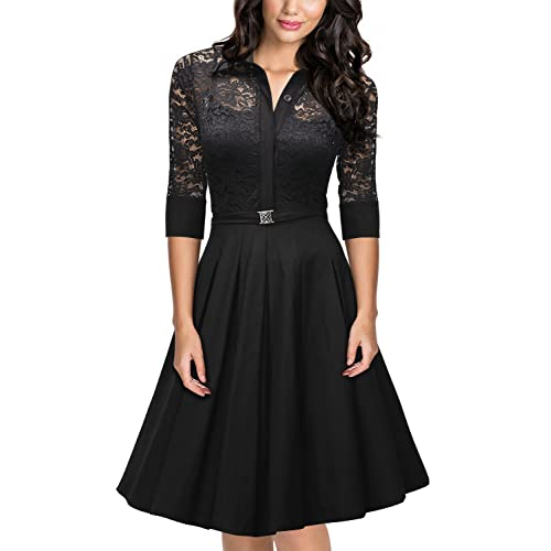 c1bdcd583192 MissMay Womens Vintage 1950s Style 3 4 Sleeve Black Lace Flare A-line Dress