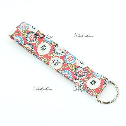 d3b27a7d14c2 Floral Print Wristlet Fabric Lanyard Key Chain for Key fob, ID Badge  Holder. Key, Purse, USB (Red)