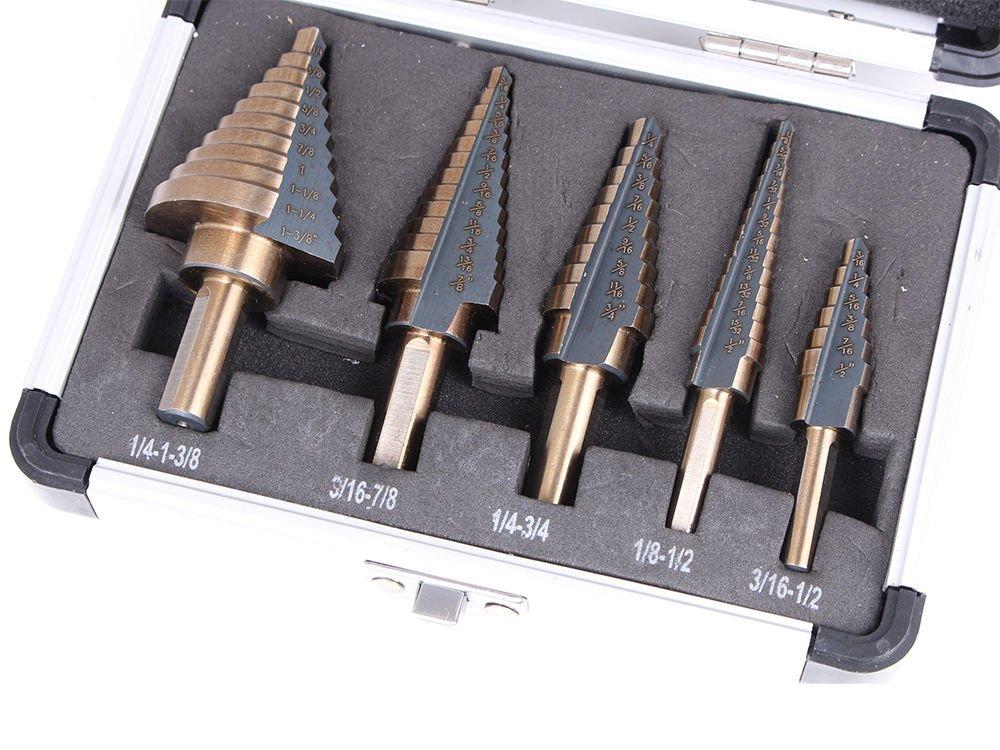 Agile-shop 5pcs Step Drill Bit Set Hss Cobalt Multiple Cut Hole 50 Sizes Step Drill Bit Set Tools W/ Aluminum Case