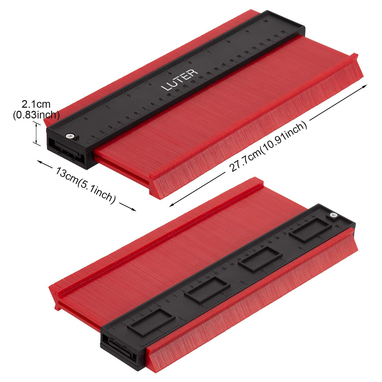 Contour Gauge Duplicator Perfil Gauge profesional para herramientas de marcado de madera laminada de mosaico de medici/ón precisa rojo LUTER Medidor de contornos 25x13.2cm