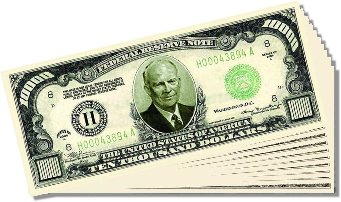 $10,000.00 Ten Thousand Dollar Gold Certificate Novelty Bill Set of 5