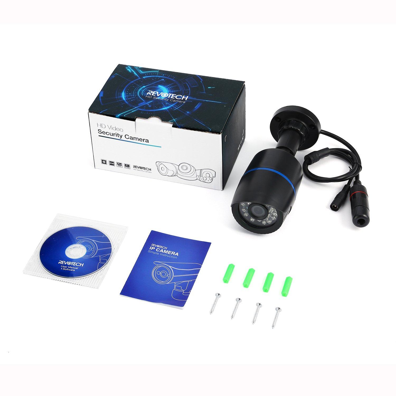Revotech® - POE HD Resistente al Agua 1920 x 1080P 2.0MP Para IP Cámara 24 LED Exteriores con Seguridad a toda Prueba ONVIF de Visión Nocturna P2P CCTV ...
