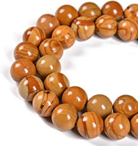 Nancybeads Natural Stone Beads Round Genuine Real Stone Beading Loose Gemstone DIY Charm Beads for Bracelet Necklace Earrings Jewelry Making, 15.5'' 1 Strand (Woodgrain, 6mm 60Beads)
