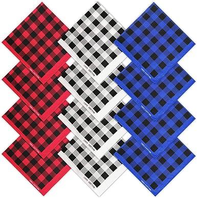 HANGNUO - Pack de 12 pañuelos de algodón con diseño de cuadros de ...