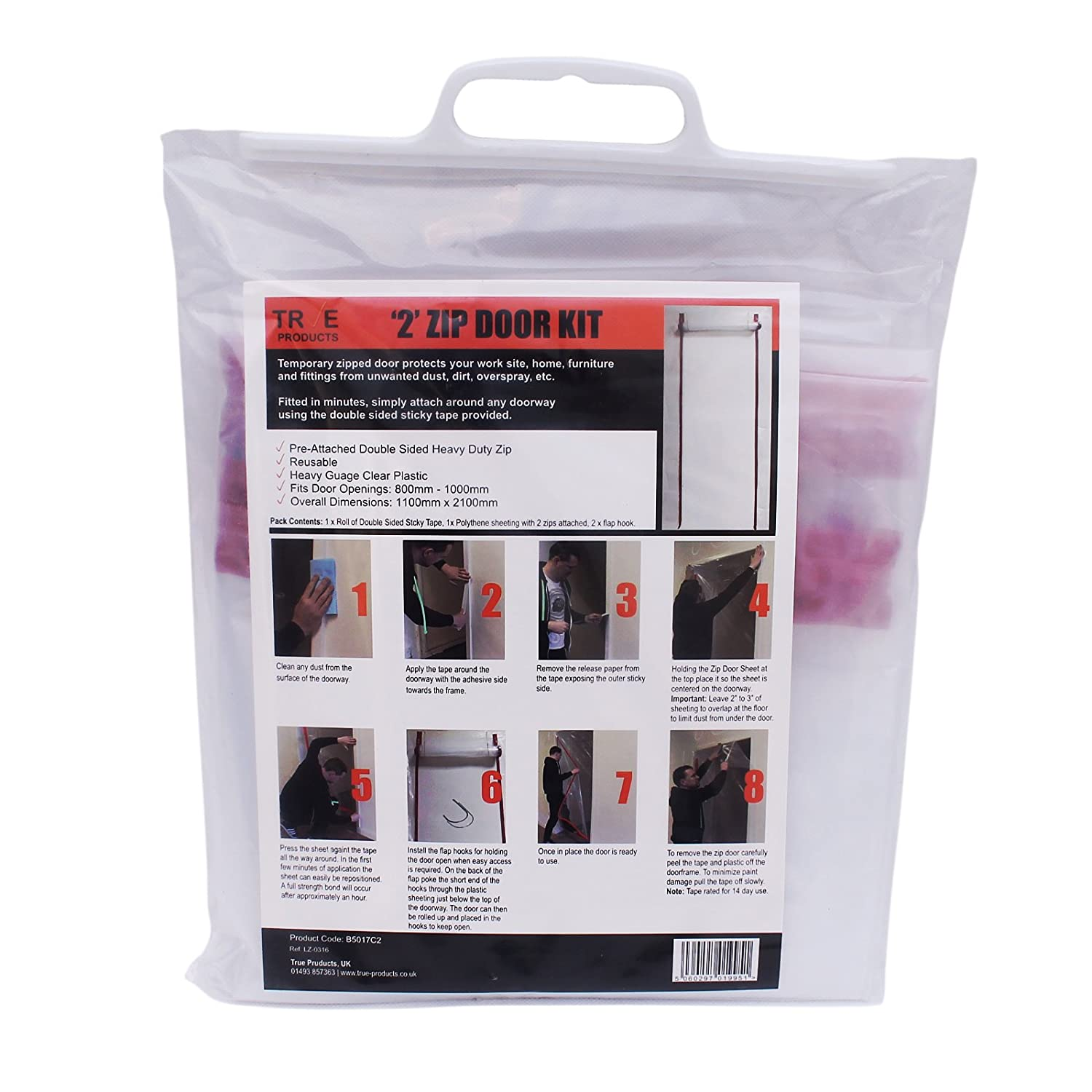 True Products B5017CL Dust Stop Pre-Assembled L Zip Door Kit for Easy Installation - Clear