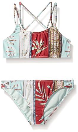 24ac05c378b80 Roxy Big Girls' Boheme Life Crop Top Swimsuit Set, Marshmallow Perfect Wave  Strip,