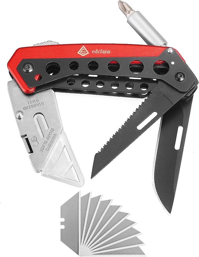 Utility Messer Box Cutter 4 in 1 Versenkbare Tasche Schraubendreher Pry Tip