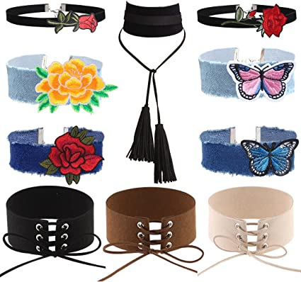 Tpocean 10pcs Black Velvet Pendant Chokers Set and Embroidery Necklace Chocker Jewelry for Women Girls Teens