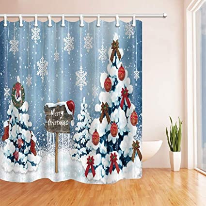 SZZWY Christmas Shower Curtains For Bathroom Western Festival Tree And Snowflakes Polyester Fabric Waterproof Bath