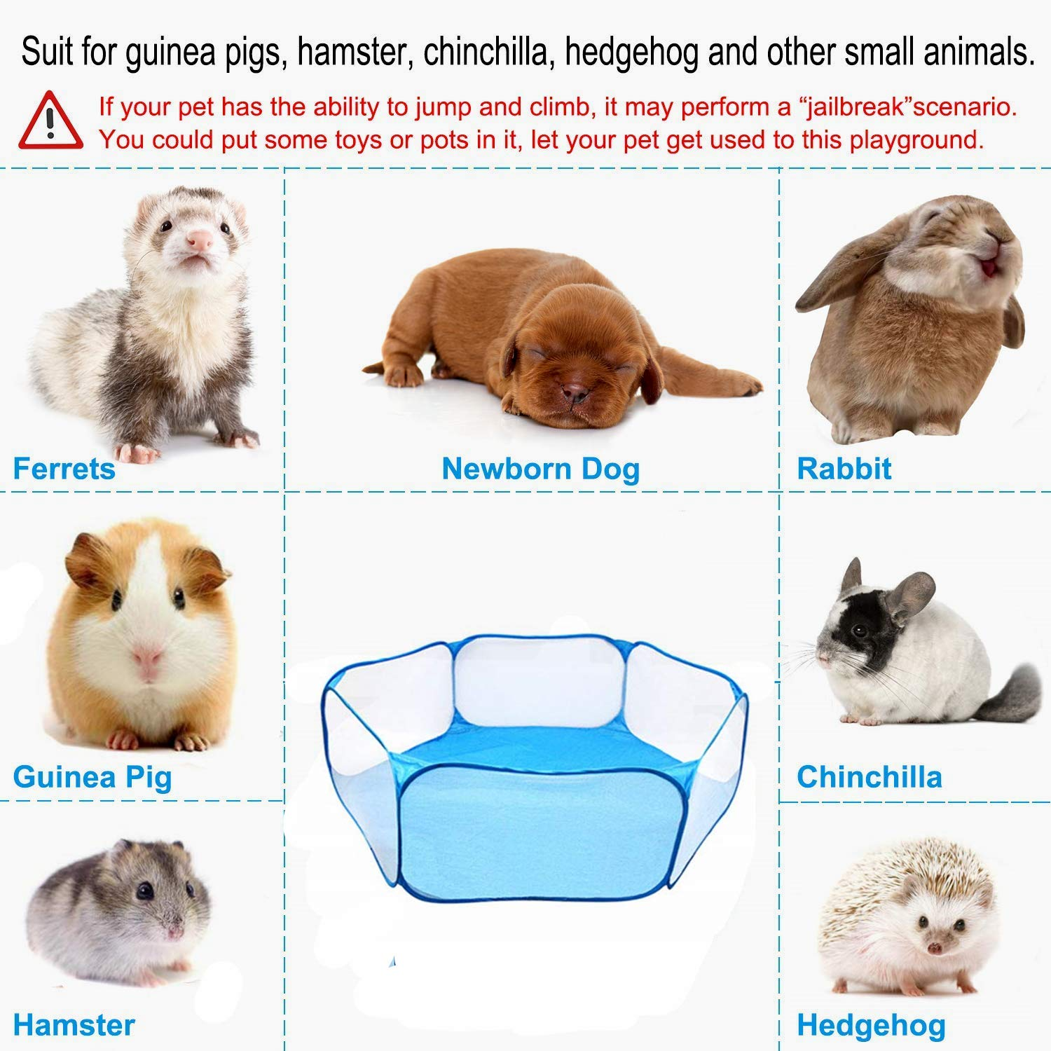 VCZONE Small Animals Foldable Exercise Playpen,Portable Yard Fence for Guinea Pig, Rabbits, Hamster, Chinchillas and Hedgehogs (47.2\