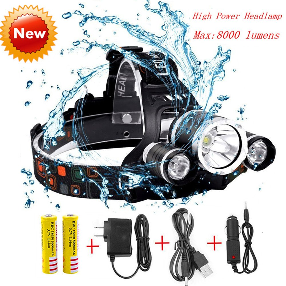 Super Bright Headlamp Flashlight Led, 8000 Lumens Waterproof Headlight Torch, Hard Hat Light,Rechargeable 3 Light 4 Modes,Best for Camping Biking Hunting Fishing Outdoor sports(Silver)