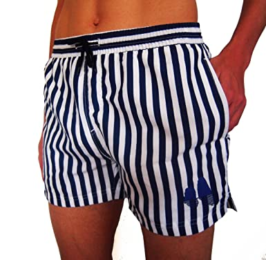 grande vendita 5edfc 25b75 PROMOPIACE Costume da Bagno Uomo, Boxer Mare Uomo, Pantaloncini da Bagno  Uomo a Righe Bianco e Blù Capri Beach, Men's Navy Striped Swim Shorts