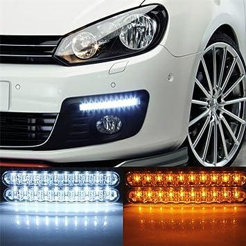 LED coche lámpara de luz diurna DRL luz con faros de luces LED bombillas para coche luces antiniebla (2 x 30 LED luz) 2 unidades: Amazon.es: Coche y moto