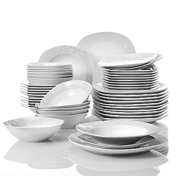 VEWEET  Clover  Service de Table en Porcelaine DE 48 pièces   Service de  Vaisselle 8428b61112cd