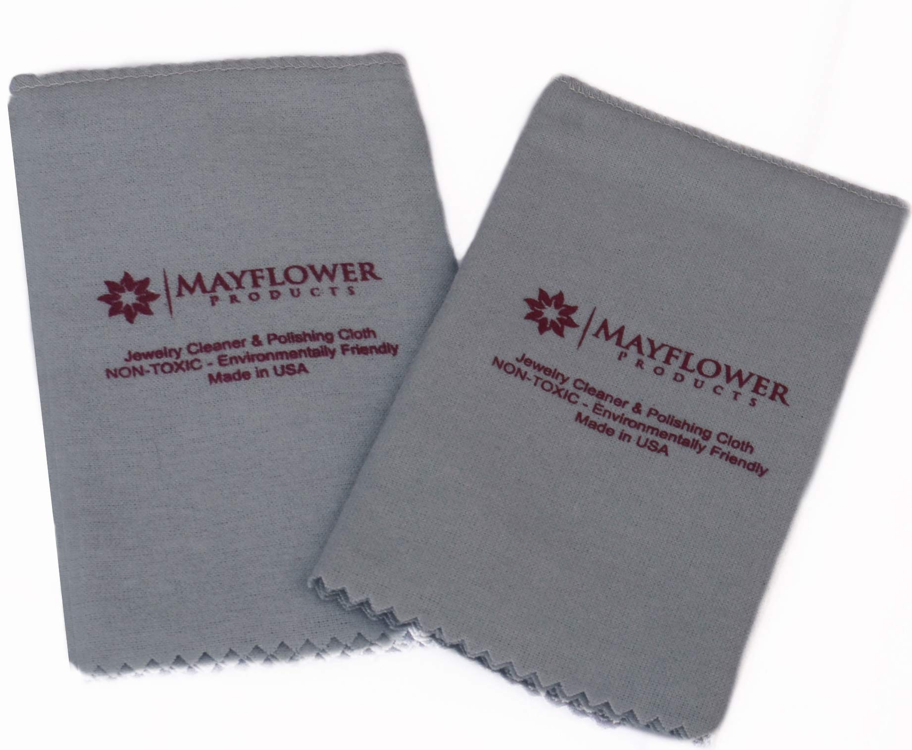 Pro Size Polishing Cloth Set of 2 Large Jewelry Cleaning Cloths| 100% Cotton| Made in USA for Gold Silver and Platinum Jewelry Coins Watches and Silverware| Tarnish Remover| Keep Jewelry Shining by Mayflower Products