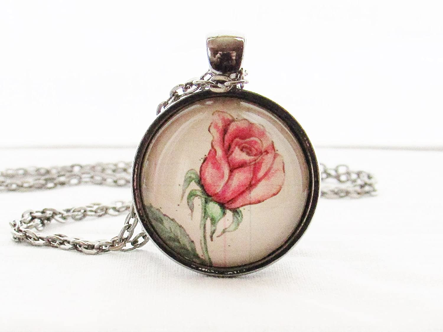 Rose Birth Month Flower June Necklace Glass Pendant
