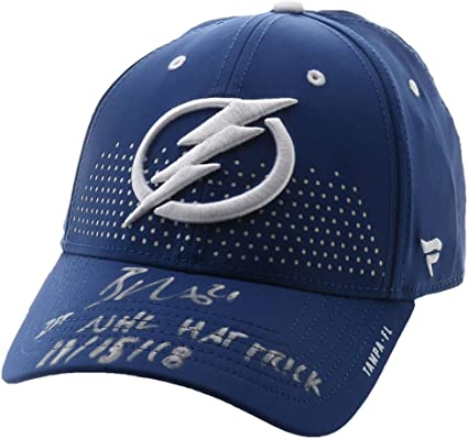 c0ab6cb66af Brayden Point Tampa Bay Lightning Autographed Blue Fanatics Cap  with quot 1st NHL Hat Trick 11