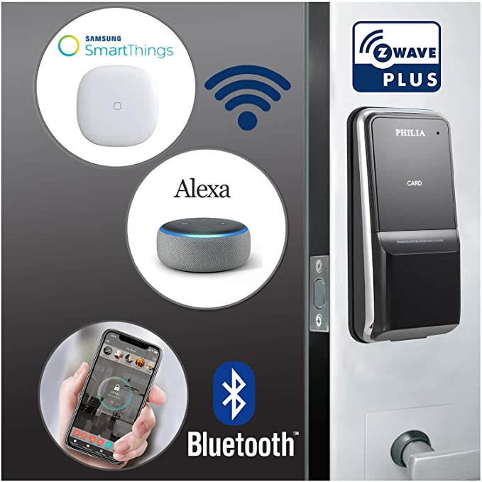 Philia PDS-100BZ Smart Keyless Door Lock with Z-Wave (Compatible with  Alexa, Smartthing) & Bluetooth, Digital Keypad Password, RFID, Door Locks  for