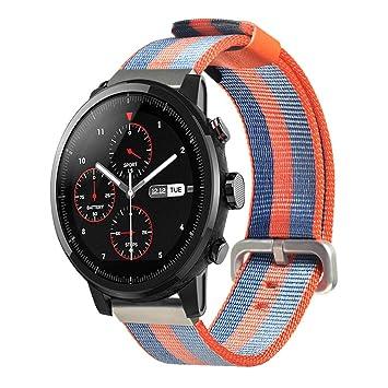 Kokymaker Correa de Reloj de Nylon Lienzo para Amazfit Stratos/HUAMI xiaomi Amazfit Pace Smartwatch,22mm Liberación Rápida Pulsera de Repuesto Pebble ...