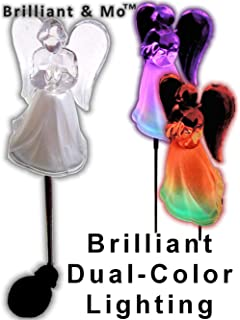 acrylic solar angel lights with a frosted skirt solar garden stake box of 2