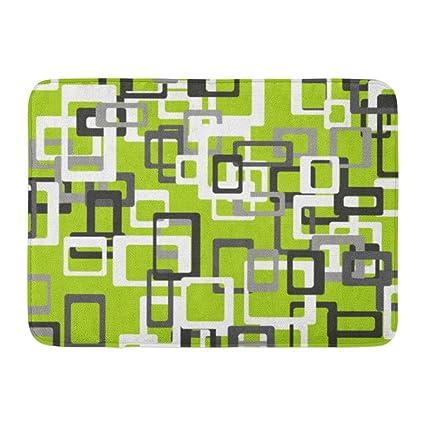 Coolest Secret Bath Mat Modern Lime Green Black Gray White Bathroom Decor Rug 16 X 24
