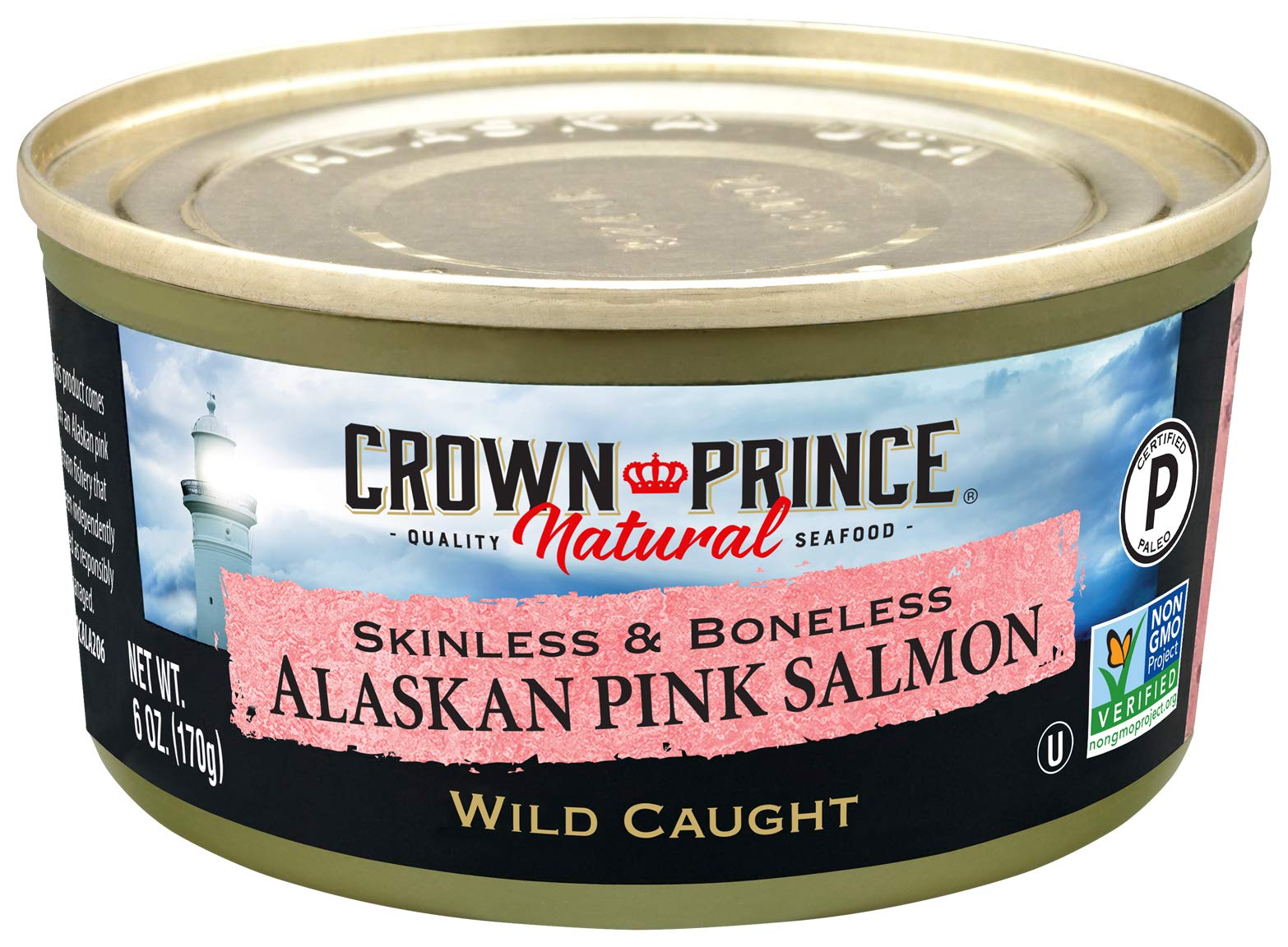Crown Prince Natural Skinless & Boneless Alaskan Pink Salmon, 6-Ounce Cans (Pack of 12) by Crown Prince