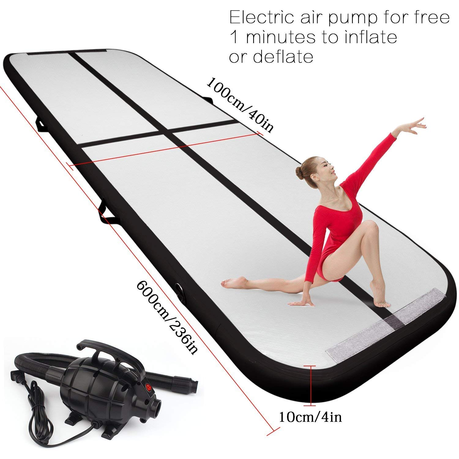9.84ft/13.12ft/16.4ft/19.68ft/3.28ft air track tumbling mat inflatable gymnastics airtrack with Electric Air Pump for Practice Gymnastics, Tumbling,Parkour, Home Floor and Martial Arts (Black, 19.68)