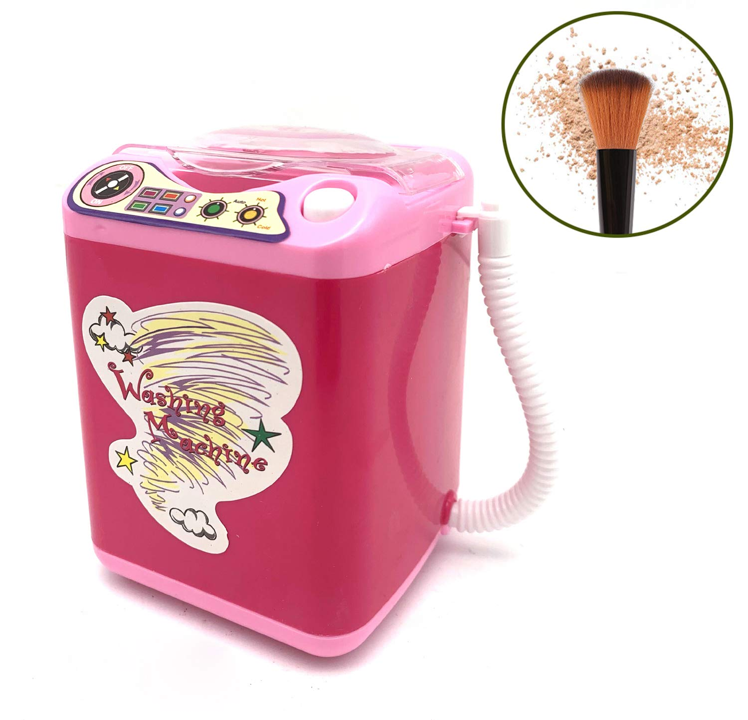 Wakaka Electric Makeup Brush Cleaner Spinner Machine - Electronic Mini Washing Machine Shape Automatic Makeup Brush Cleaner Dries Deep Cleaning Mini Toy