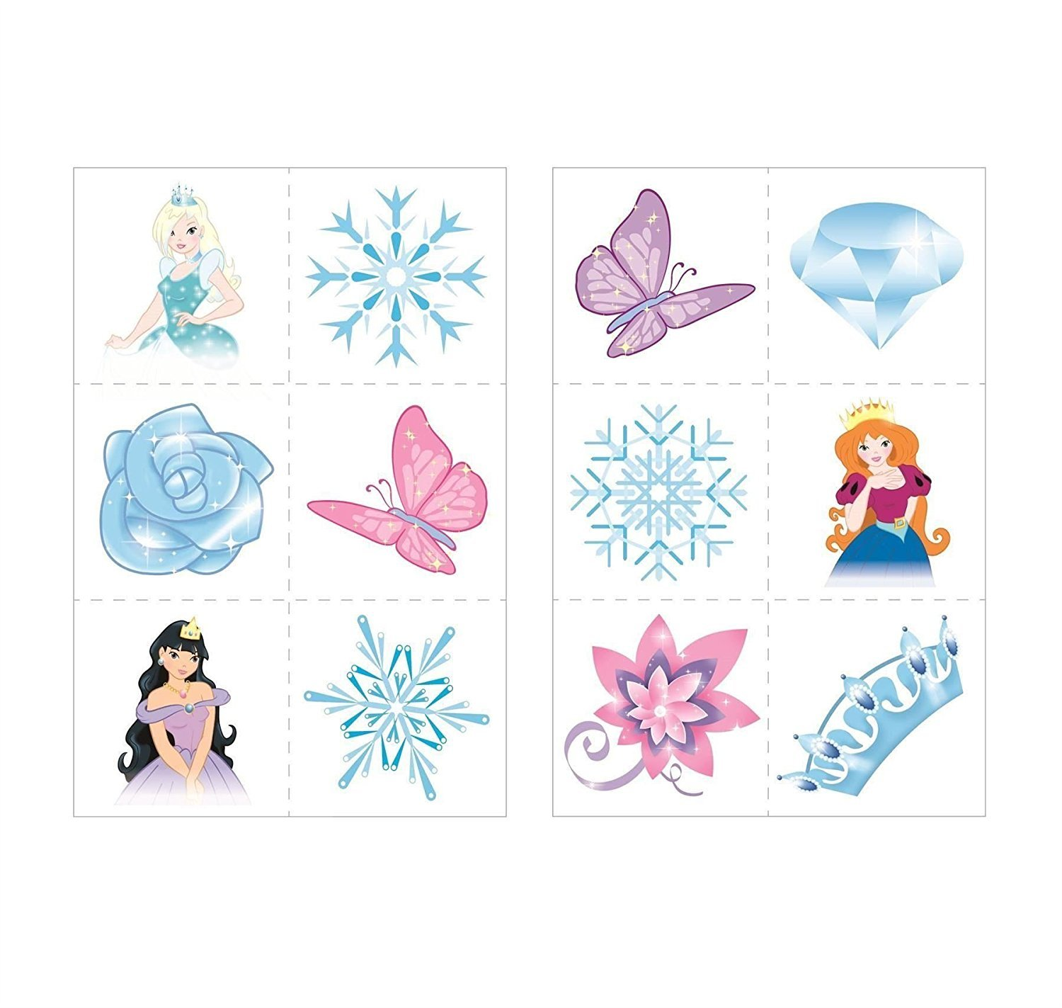 24 x Ice Princess Snow Queen Temporary Tattoos Children Girls Party Bag Stocking Filler Toy by Henbrandt