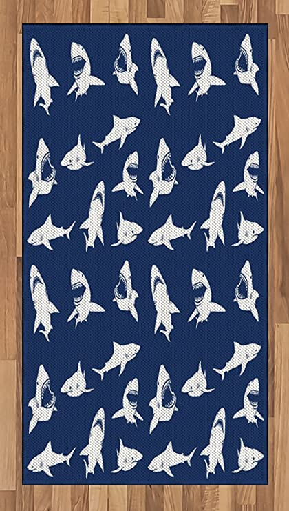 Amazon Ambesonne Shark Area Rug Shark Pattern With Various Magnificent Shark Pattern