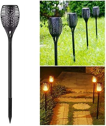 Juego de 96 antorchas de jardín con luz led, antorchas solares IP65 resistentes al agua para patios traseros, jardines, iluminación de césped (2 unidades): Amazon.es: Iluminación