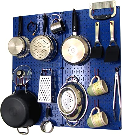 Wall Control Kitchen Pegboard Organizer Pots and Pans Pegboard Pack Storage  and Organization Kit with Blue Pegboard and Red Accessories