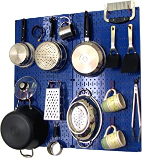 product image for Wall Control Kitchen Pegboard Organizer Pots and Pans Pegboard Pack Storage and Organization Kit with Blue Pegboard and Red Accessories