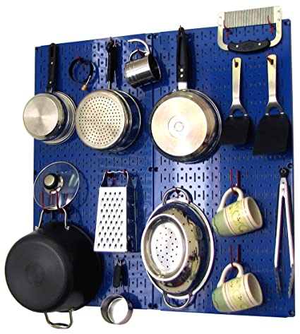 Wall Control Kitchen Pegboard Storage Organizer Kit Pots And Pans Rack    Blue Pegboard With Red