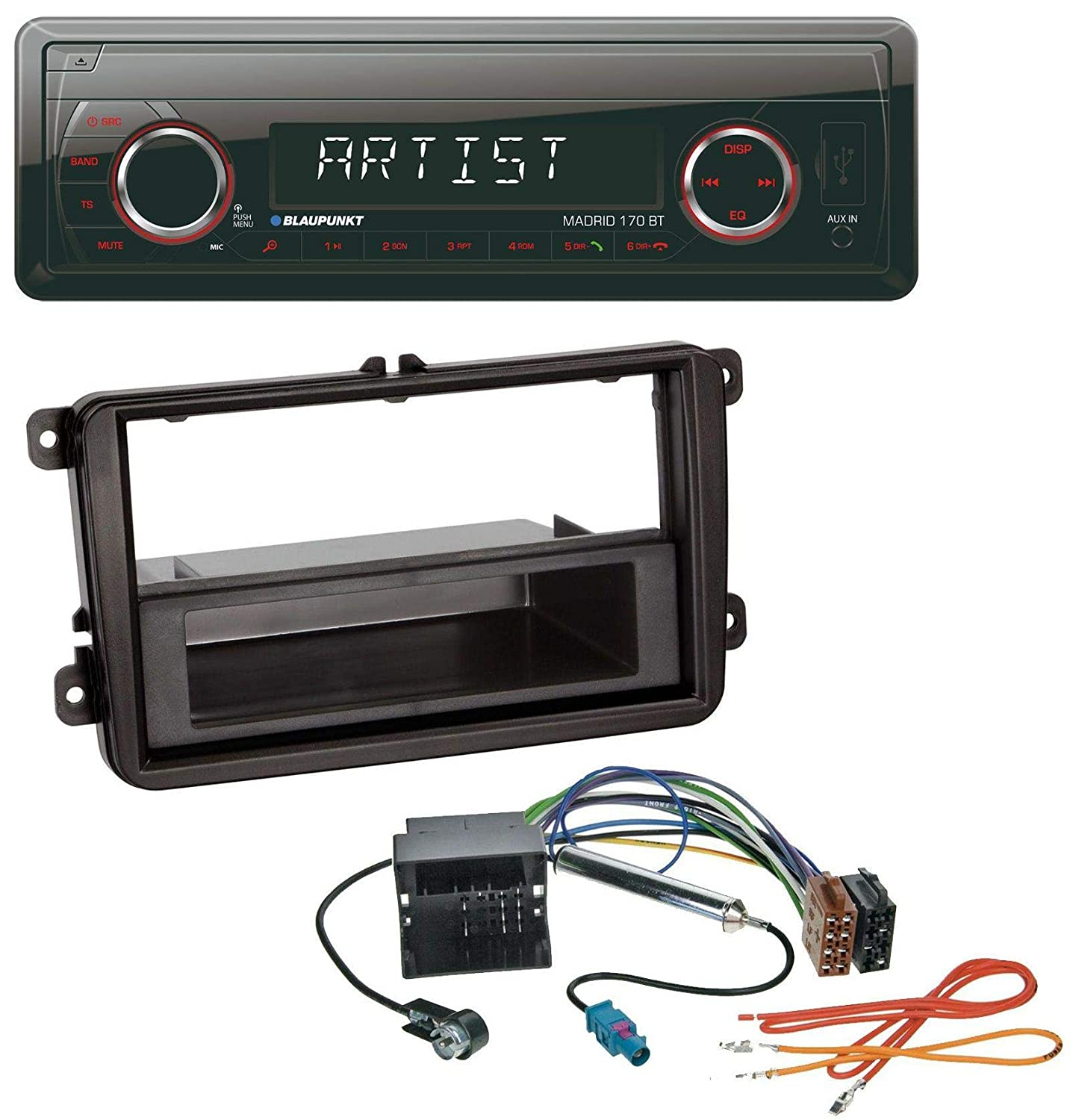 caraudio24 Blaupunkt Madrid 170 BT MP3 USB AUX Bluetooth SD Autoradio f/ür VW Passat 05-10 Polo 09-14 Scirocco ab 08