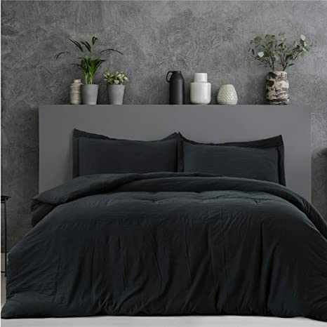 bedsure black duvet cover twin set zipper closure ultra soft hypoallergenic microfiber 2 pieces 1 duvet cover 1 pillow sham twin size 68x90