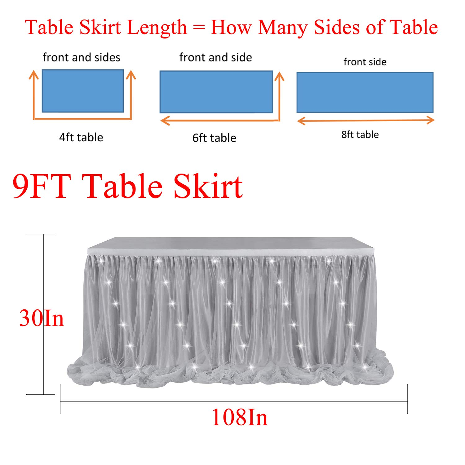 L9 ft LED Table Skirt 9ft Pink Tulle Table Skirt Tutu Table Cloth Skirting for Rectangle or Round Table for Baby Shower Wedding and Birthday Winter Party Decoration H30in