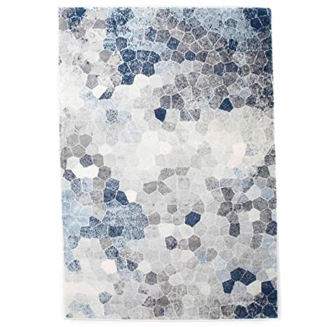 Havatex Kurzflor Design Teppich Kim Mosaik Grau Blau Oder Grau