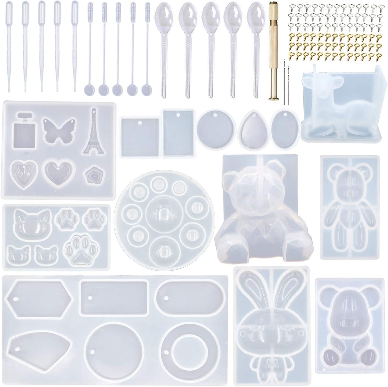 EuTengHao 132Pcs Animal Silicone Molds DIY Resin Casting Molds Kit Contains 3 Bears Resin Molds 3D Deer Rabbit Cat Paw Mold Necklace Pendant Molds Time Gem Eiffel Tower Jewelry Crystal Resin Mold