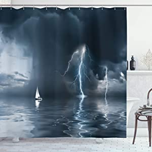 """Ambesonne Sailboat Shower Curtain, Yacht at The Ocean Comes Nearer a Thunderstorm with Rain and Bolt Artwork Print, Cloth Fabric Bathroom Decor Set with Hooks, 70"""" Long, Dark Grey"""