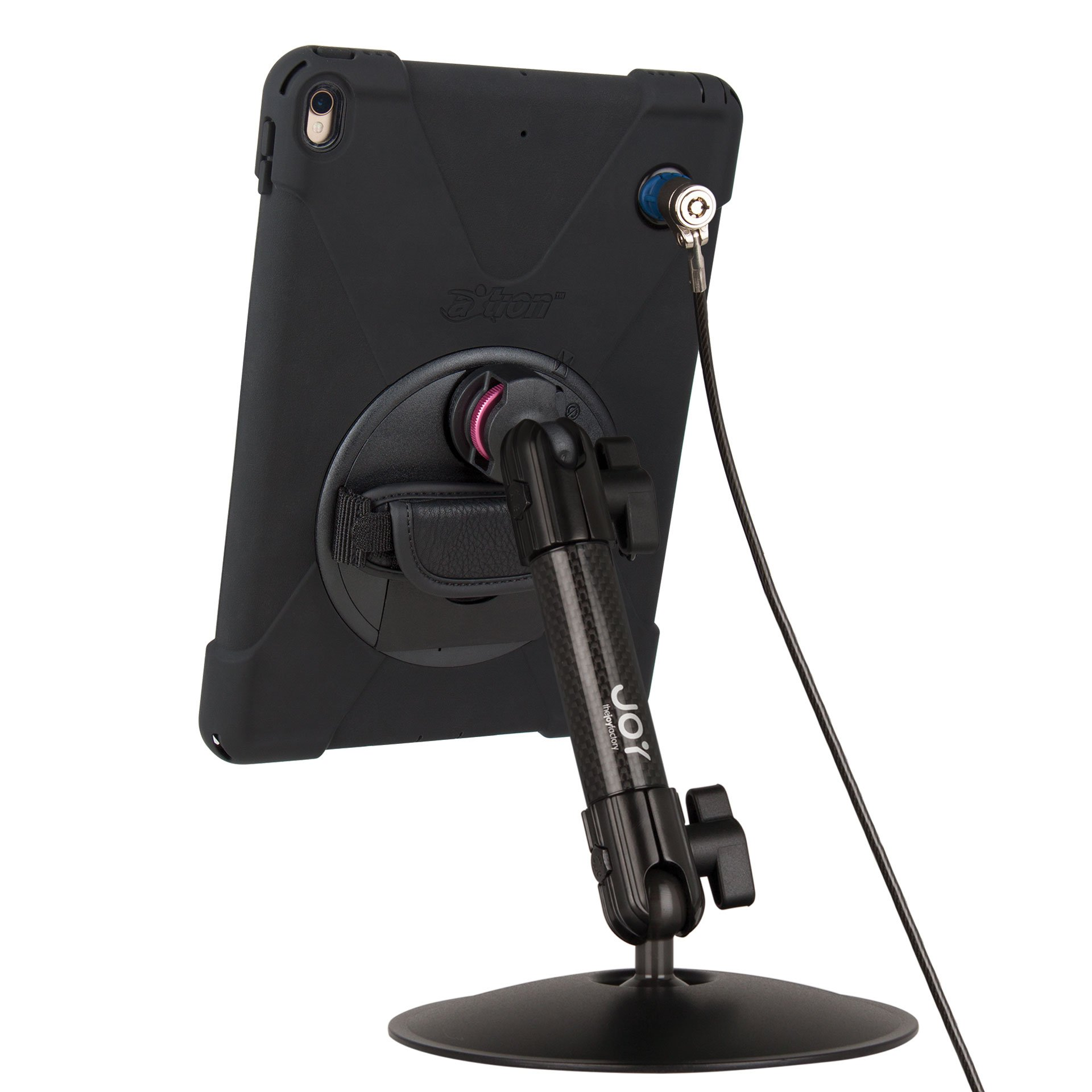 The Joy Factory MagConnect Carbon Fiber Desk Stand Mount w/ aXtion Bold MPS Water-Resistant Rugged Security Case for iPad Pro 10.5'', Built-In Screen Protector (MWA711MPS)