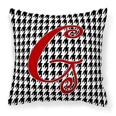 Caroline's Treasures CJ1035-GPW1414 Monogram Initial G Houndstooth Black Decorative Canvas Fabric Pillow CJ1035, 14Hx14W, Multicolor : Garden & Outdoor