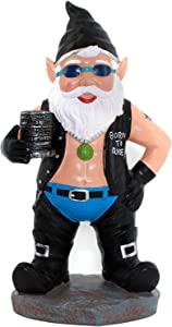 CigaMaTe Garden Gnome Statue, Biker Gnome Figurine for Garden Decor, with Motorcycle Leather Gear, Tattoos, Delicate Necklace and Grinder Statue