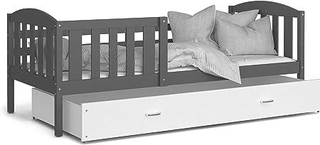 KIDS LITERIE Lit Enfant T/ÉO 90x190 Blanc Blanc Livr/é avec tiroir sommier et Matelas en Mousse de 7cm Offert