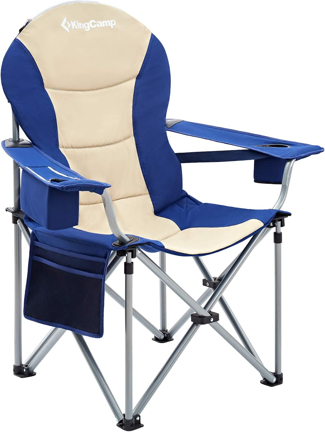 KingCamp Director Chair Full Back Folding Aluminum Padded Portable Heavy Duty Comfort Sturdy with Armrest Side Table and Cup Holder for Camping Supports 300lbs
