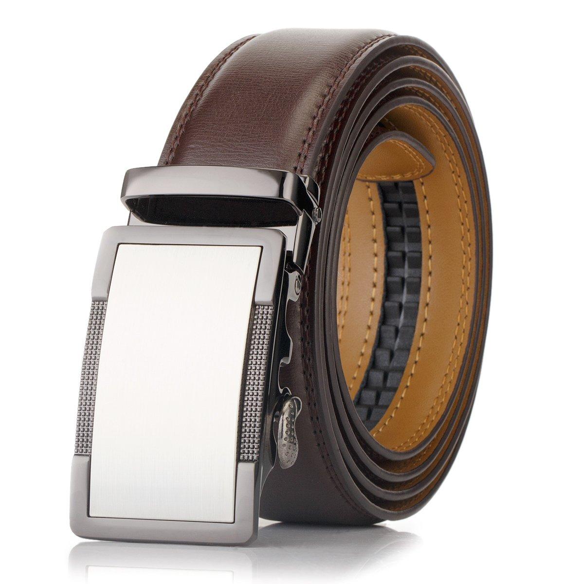 OKOKO men's Ratchet buckle genuine leather belt 35MM width (M~L:up to 44'' waist, buckle 4+brown leather)