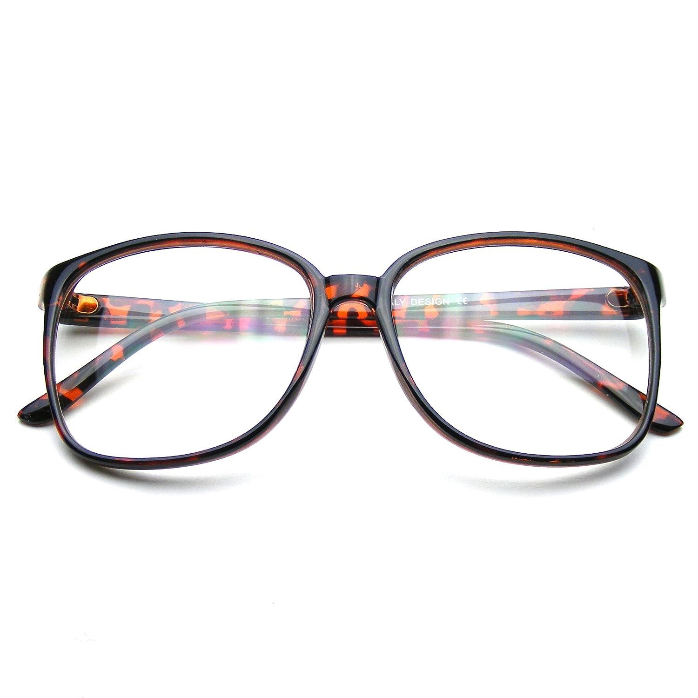 47712d7dc13a Amazon.com: Large Oversized Glasses Clear Lens Thin Frame Nerd Glasses  (Black): Clothing