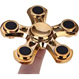 Mmrm Light ADHD Anxiety Autism Stress Reducer Fidget Hand Five Quinary Spinner EDC Toy (gold)