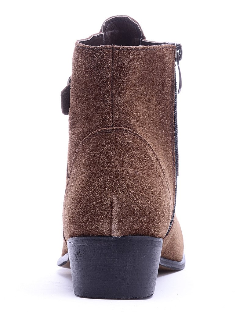 Odema Men's PU Leather Suede Pointed Toe Zipper Buckle Chelsea Ankle Boots by Odema (Image #3)